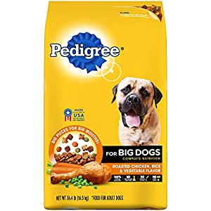 PEDIGREE For Big Dogs Adult Complete Nutrition Roasted Chicken, Rice & Vegetable Dry Dog Food 36.4 Pounds