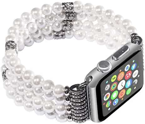 Juzzhou Watch Band For Apple Watch iWatch 38mm/42mm Series 1/2/3 All Model Faux Pearl/Agate Replacement With Metal Adapter