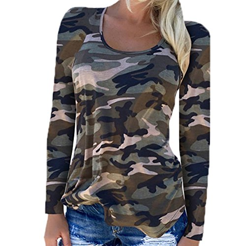 Camouflage Long Sleeve Camo T-shirt - Rexury Women's Camouflage Shirt Long Sleeve Crew Neck Casual Tee Shirt Camo Blouse Top