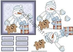 Muñeco de nieve con caja de regalo y pan de jengibre de la tarjeta por Angela de encendido y apagado