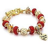 Hot and Bold Gold Plated & Swarovski Elements Pandora Heart/Love/Valentine Charms DIY Bracelet for Women/Girls.