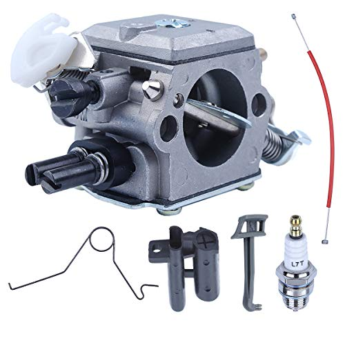 (Adefol Carburetor for Husqvarna 362 365 371 372 372XP Chainsaw 503283203 503281801 Parts with Grommet Throttle Cable Choke Lever Choke Rod)