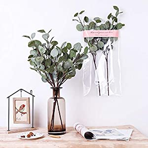 YUYAO Artificial Plants Silver Dollar Eucalyptus Leaves 6Pcs Leaf Silk Artificial Greenery Stems Fake Plants Leaves for Home Wedding Party Decoration 9