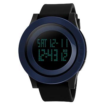 TTLIFE unisexo reloj negro hombre relojes de pulsera de moda dial grande deporte relojes Silicona Reloj Correa Impermeable LED Digital Reloj (Negro2): ...