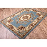 Well Woven Vanguard French Aubusson European Floral Medallion Thick Plush Area Rug - 3'11 x 5'3 Light Blue/Ivory Ivory, Beige, Blue
