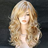 #5: Wonderful Long Wavy Blonde Mix Skin Top Curly Wig Hair