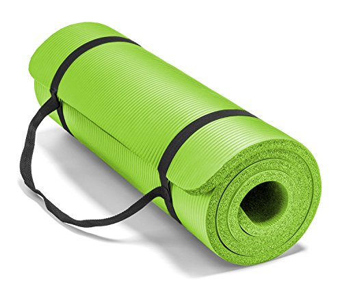 Spoga Premium High Density Exercise Yoga Mat with Comfort Foam & Carrying Straps, Lime Green, 71'
