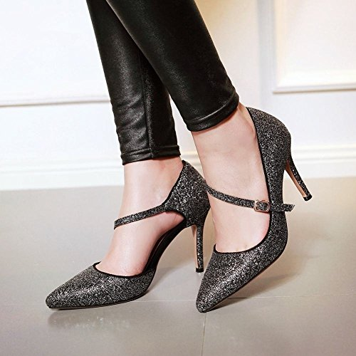 Mee Shoes Sexy Bride High-heel Stiletto Pointed-toe Shining Leather Court Shoes Black OP7B8lnI