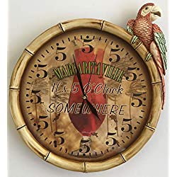 Margaritaville Jimmy Buffett Always 5 O'clock Somewhere Functioning Clock with Parrot