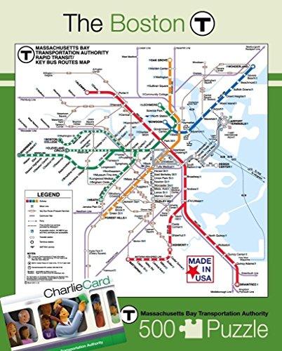 New York Puzzle Company - Boston Transit Boston T - 500 Piece Jigsaw - Puzzle Boston