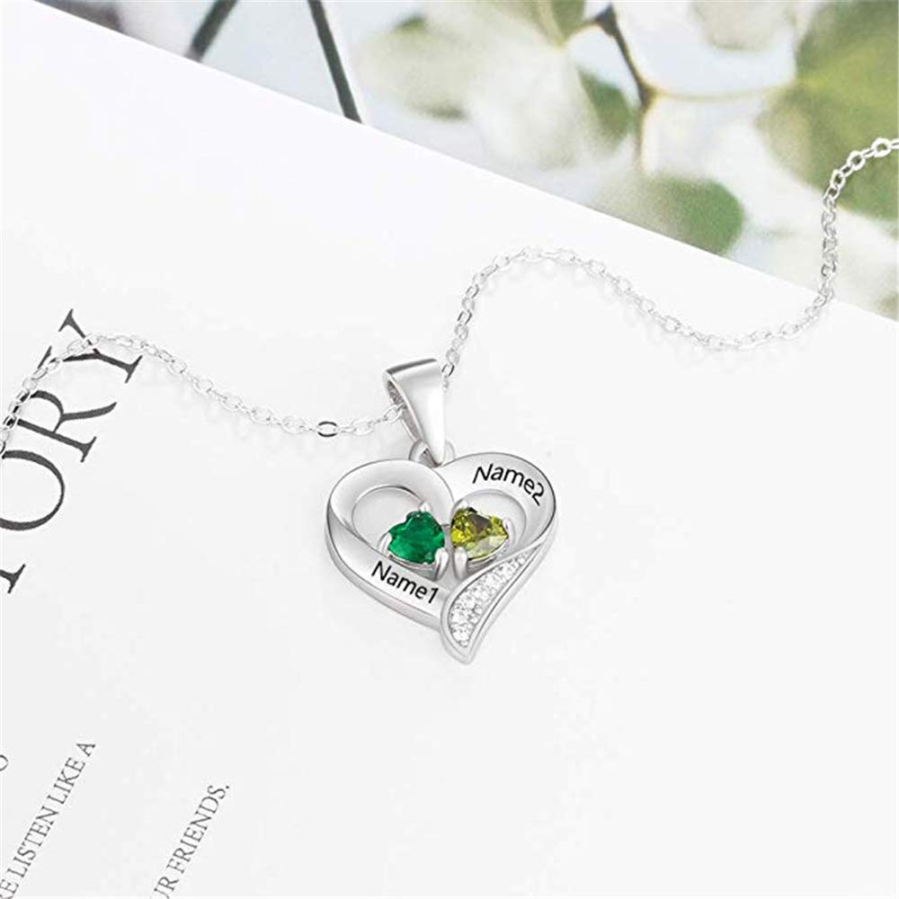 FACOCO Personalized Name Necklace 2 Name with 2 Birthstone Necklace