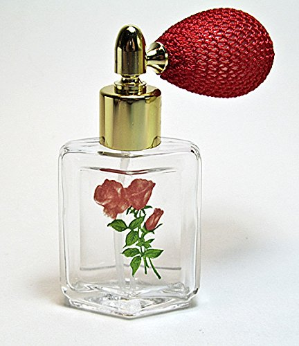Alice-Aliya Refillable Glass perfume atomizer bottle with Floral Pattern and Squeeze Bulb Sprayer. ()