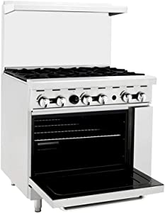Atosa Stove ATO-6B 36'' Natural Gas Range 6 Burners with 26.5 '' Stove ETL