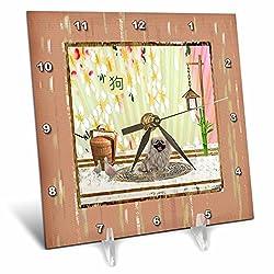 3dRose Beverly Turner Chinese New Year Design - Pekingese. Asian Design, Birds, Basket, Blooms Wall, Sign of Dog - 6x6 Desk Clock (dc_262902_1)