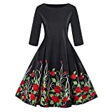 Answerl⍣ Women's Vintage Long Sleeve Big Swing A-Line Dress Floral Print Round Neck Zipper Up Dress Red