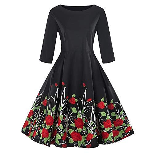Womens Vintage Dress Duseedik Fashion Plus Size 3/4 Sleeve Floral Print Retro Swing Dress Skirt