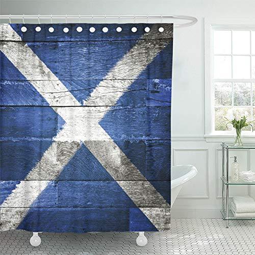 Emvency Decorative Shower Curtain Blue Scottish Scotland Flag on Old Wood Saltire 72