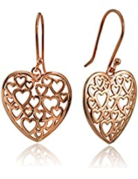 Sterling Silver Open Heart Filigree Dangle Earrings