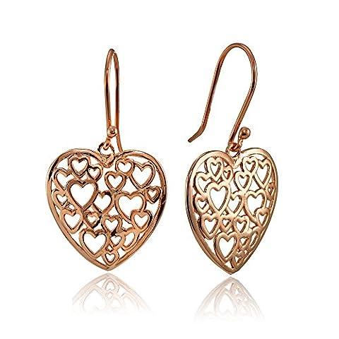 Rose Gold Flashed Sterling Silver Open Heart Filigree Dangle Earrings - Open Loop Earrings