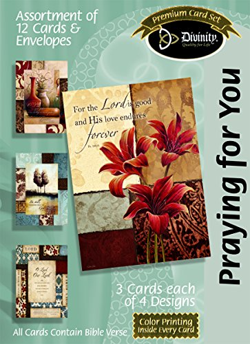 Divinity Boutique (21699N) Greeting Card Assortment: Praying for You Home Decor with Scripture 5 x 7 Inch, Set of 12 - 3 sets of each 4 designs