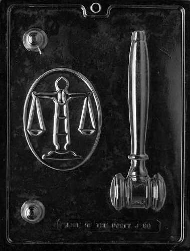 (Cybrtrayd Life of the Party J088 Legal Kit Gavel, Scale, Justice Chocolate Candy Mold in Sealed Protective Poly Bag Imprinted with Copyrighted Cybrtrayd Molding Instructions)