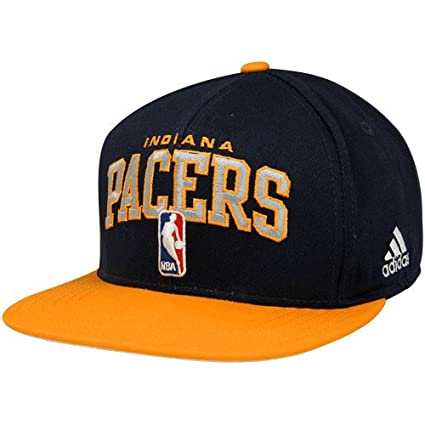 13ef199e8fe Image Unavailable. Image not available for. Color  Indiana Pacers Flat  Visor Snap Back Adidas Hat ...