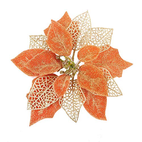 Jim`s cabin Artificial Flowers Pack of 12 Glitter Poinsettias for Christmas Tree Ornaments Butterfly Christmas Gold Decorations (Orange) (Christmas Decorations Tree Orange)