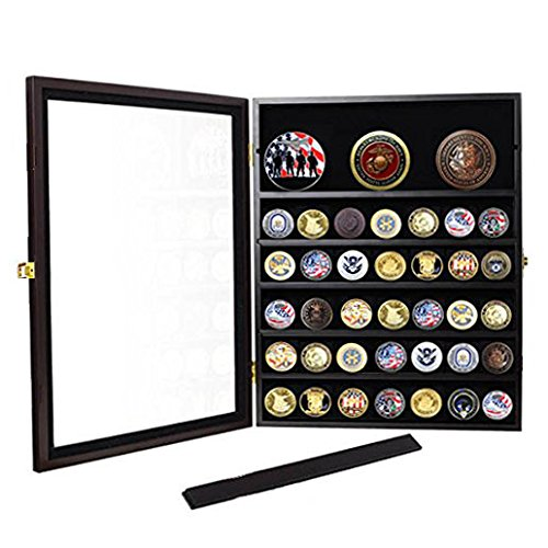 56 Military Challenge Coin Display Case Cabinet Rack Shadow Box