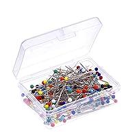 Outus 250 piezas de pernos de cabeza de vidrio en caja para modista (multicolor)