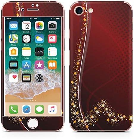 igsticker iPhone SE 2020 iPhone8 iPhone7 専用 スキンシール 全面スキンシール フル 背面 側面 正面 液晶 ステッカー 保護シール 005751 ラグジュアリー 星 赤 レッド