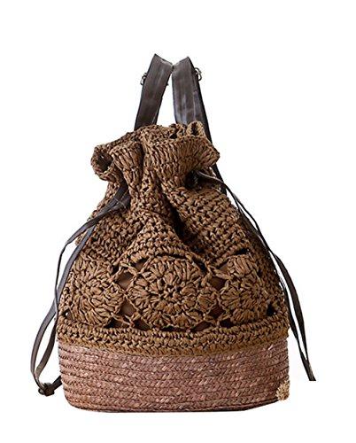 Drawstring Straw Brown Sweet Sulida Style Dark Flower Women's Bag FBA Knitted Lightweight Backpack Hook Boho Shoulder YCZww4Xqx