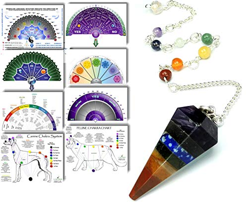 Pendulum Crystal with 8 Full-Color Life Charts & Pet Charts - Dowsing Instructions...