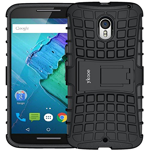 ykooe Moto X Pure Edition Case (5.7 inch), (Armor Series) Heavy Duty Protection Hybrid Shockproof Dual Layer Protective Case Cover with Stand for Motorola MotoPure Edition (Black)