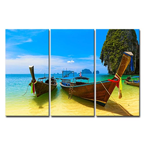 (Canvas Print Wall Art Painting Beach With Blue Water And Sky At Summer Thailand Nature Beautiful Island And Traditional Wooden Boat Stretched And Framed Artwork Print On Canvas)