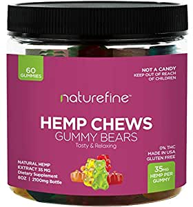 Hemp Gummies - Zero THC CBD Oil Cannabidiol - 2100 MG - 35 MG per Gummie -  Hemp Oil for Pain