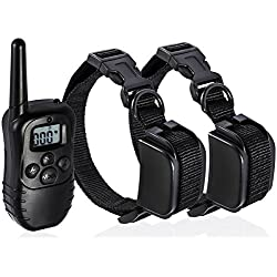 Pet Dog Training Collar Rechargeable Electric LCD 100LV Shock (Two Collars