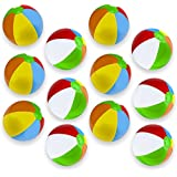 Sol Coastal Classic 6-Color Inflatable Beach Balls, Pack of 12