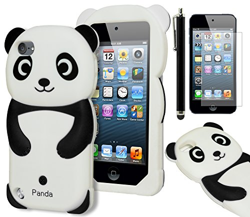 astex 3D Black and White Panda Bear Silicone Case for Apple iPod Touch 5, 5th GenerationINCLUDES SCREEN PROTECTOR AND STYLUS [Compatible with iPod Touch 6] ()