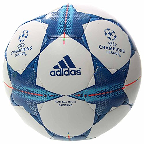 adidas Performance Finale 15 Capitano Soccer Ball, White/Bright Cyan/Bright Blue, 3 (Adidas Finale Ball)