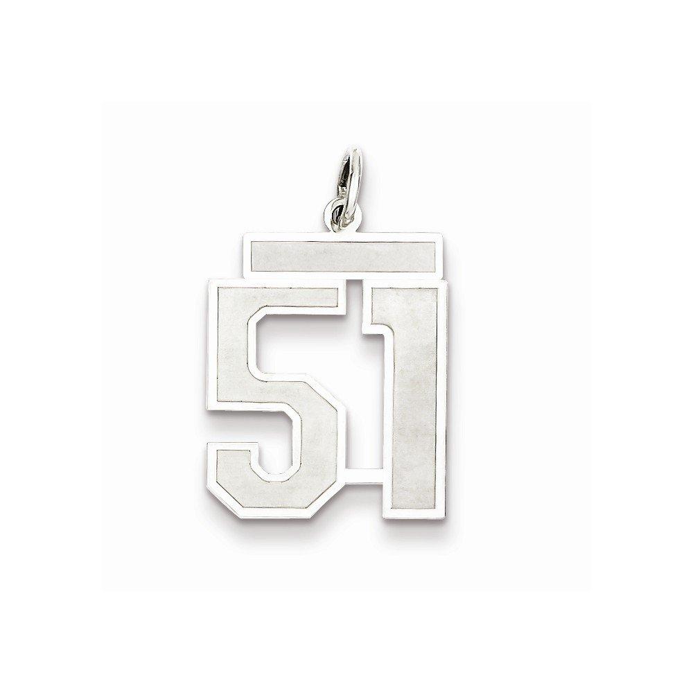 Jewel Tie 925 Sterling Silver Medium Satin Number 51 18mm x 22mm