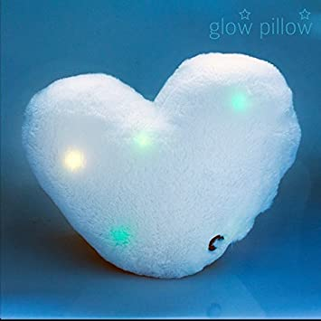 Cojín con forma de corazón luminoso - Luz LED cojín luminoso ...