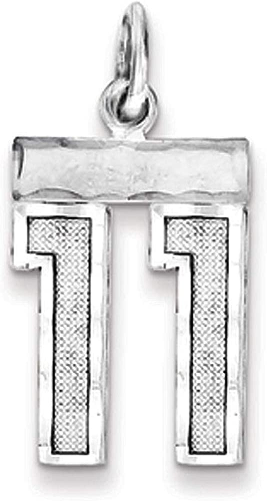 Varsity Collection Small D//C Pendant Rhodium Plated Sterling Silver Number 89