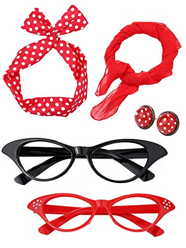 Satinior Women 50's Costume Accessories Set Girl Scarf Headband Earrings Cat Eye Glasses for Party (Color Set 2) -