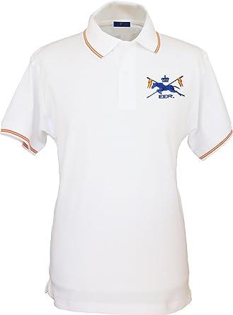 Pi2010 – Polo España Hombre, Bordado Escuadrón Escolta Real en Pecho, Bandera España en Cuello y Mangas, 100% algodón