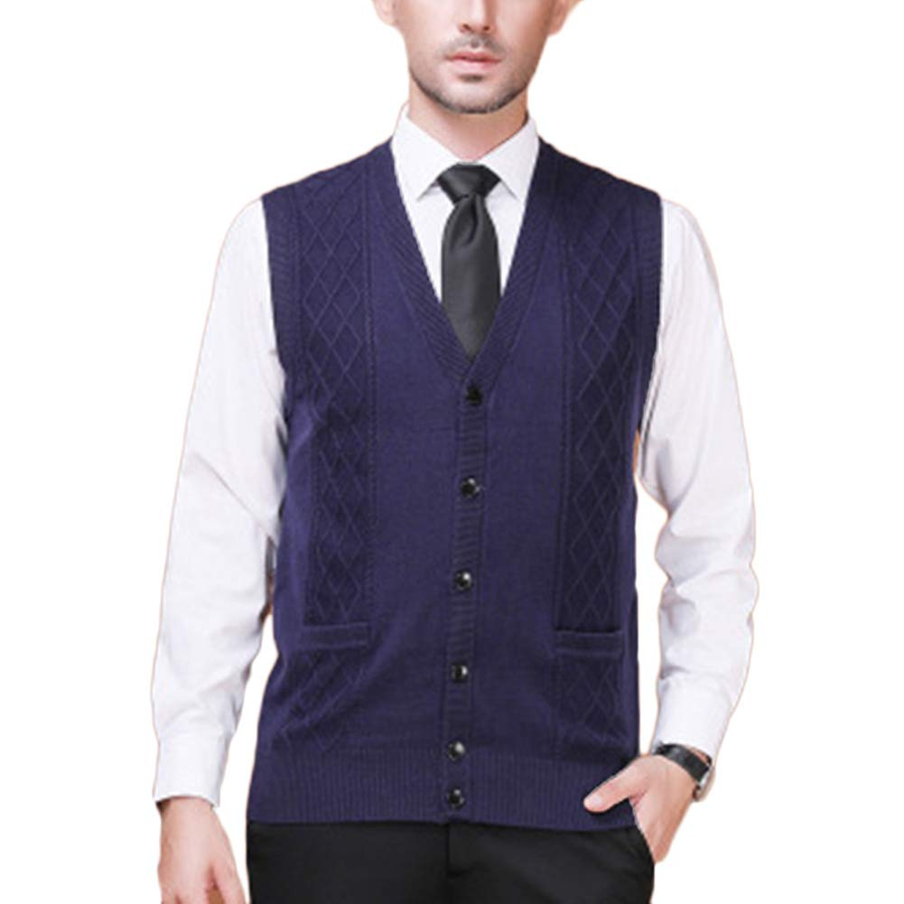 Guiran Father Mens Gilet V-Neck Sleeveless Vest Knitwear Cardigans Knitted Waistcoat Sweater Tank Tops with Buttons