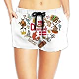 Travel to Denmark Women Fashion Sexy Quick Dry Lightweight Hot Pants Waist Beach Shorts Swimming Trunks