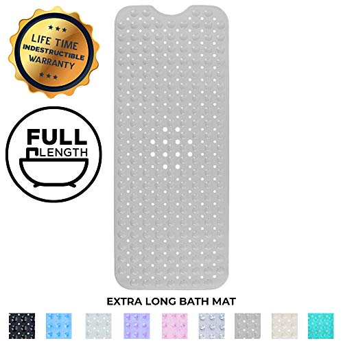 TexDesign Extra Large Long Non Slip Bathroom Bath Mat for Tub and Shower (Black) (Gray)