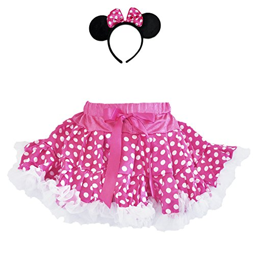 (Halloween Mouse Polka Dot Tutu Costume with Ruffle Trim & Headband 2 PCs Set (Small Age 1-2, Hop Pink-White))