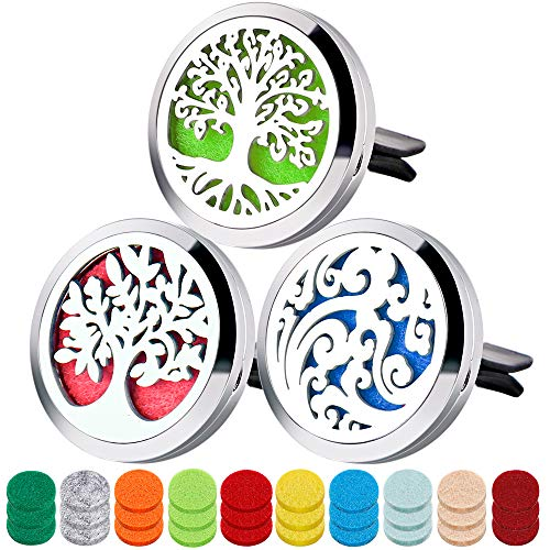 - 3PCS Aromatherapy Essential Oil Car Diffuser Locket with 30 Refill Pads