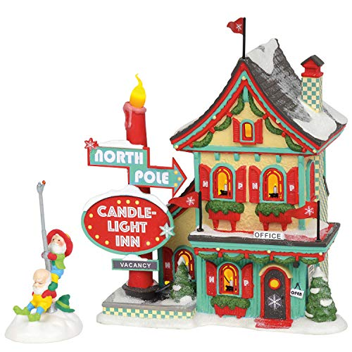 """Department 56 North Pole Village Series Welcoming Christmas Candle-Light Inn Lit Building and Accessory, 7.01"""", Multicolor"""